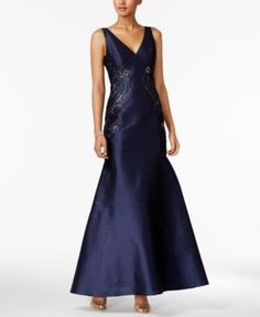 Adrianna Papell Embellished Faille Trumpet Gown - Blue 14