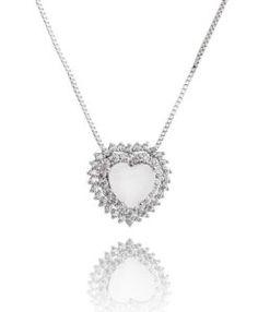 colar coração moderno com pedra branca leitosa e zirconias cristais semi joias finas