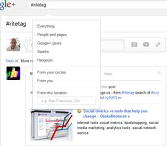 """Google+ Search of  """"RiteTag"""" (with '#')"""