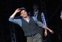 Jeremy Jordan, Broadway's Original Jack Kelly center stage at the Newsies Curtain call. <3
