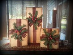 Primitive wooden Christmas presents~