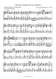 Lascia ch io pianga (Orgel Solo) Georg Friedrich Händel >>> KLICK auf die Noten um Reinzuhören <<<