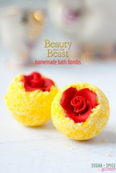 DIY Bath Bombs - a fun Disney DIY gift or addition to your Disney movie night. The perfect Beauty & the Beast craft for your bathroom.