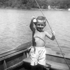 A little boy makes his first big catch at the Lake in 1952.