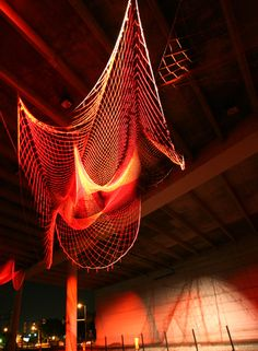 Line Drawing, fishing net sculpture in Tampa, Florida, by Janet Echelman