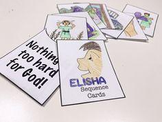 Elisha sequence cards for a sunday school lapbook. Sunday School, Cards, Maps, Playing Cards