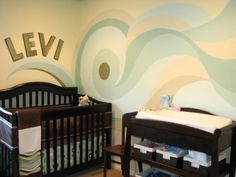 beach theme boys room, This is a modern, graphic, yet calming space done that was done on a budget, Nurseries Design