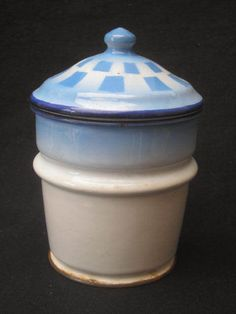 FILTRE EMAILLE ANCIEN CAFETIERE Carreaux bleu/blanc Blue Shading Check COFFEEPOT