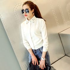 2015 spring women lapel beaded long-sleeved shirt Slim bottoming USD$16.00