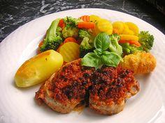 Chefkoch.de Rezept: Schweinefiletmedaillons mit Parmesan - Tomaten - Kruste