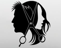 Hairstyle Wall Vinyl Decal Hairdo Wall Vinyl Sticker Home Decor Hair Salon Beauty Salon Design Decor - - Design Salon, Salon Interior Design, Interior Design Images, Beauty Salon Design, Design Design, Design Ideas, Hair Salon Logos, Hair Salons, Hair Salon Interior