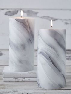 Marbled Pillar Candle #nordichouse #candles #marble: