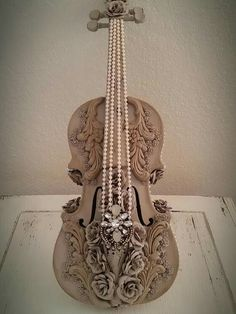 Shabby Distressed Embellished Cottage Antique Violin by Elevated Decor Co by Julie Roberts. See this and more at www.elevateddecorco.com