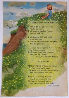 Vintage Children's book Illustration with Edna St Vincent Miillay poem Art And Illustration, Poetry For Kids, Kids Poems, Preschool Poems, Vintage Children's Books, Nursery Rhymes, Nursery Songs, Childrens Books, Nostalgia