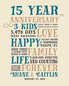 Anniversary Gifts 15 Year Present For Him Husband Her Wife Relationship Family Children Gift Friends
