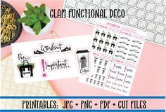 GLAM Functional Deco Printer Stickers | Coffee Workout Payday DIY Planner Stickers  Cut Lines Erin Condren Happy Planner Printables Stickers by DIYPlannerGirl on Etsy https://www.etsy.com/listing/543439808/glam-functional-deco-printer-stickers