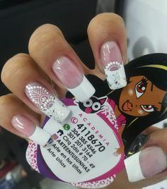 La imagen puede contener: una o varias personas Nail Manicure, Nail Polish, Nail Studio, Gorgeous Nails, French Nails, White Nails, Wedding Nails, Nail Art Designs, Finger