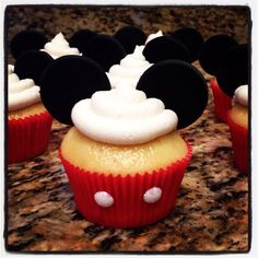 Mickey Mouse cupcakes! Gluten, casein, and soy free!  Not actually Mickey decorated of course