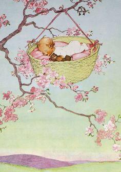 vintage nursery rhymes illustrations | Rockabye Baby 1956 Childrens Nursery Rhyme by APaperReverie