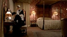 Downtown Abbey.  Lady Mary's bedroom - so gorgeous.  LOVE the wallpaper.