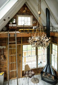 Tumbleweed of antlers on rope and pulley