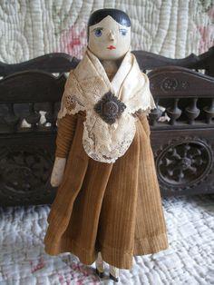 Charming old wooden peg doll, Grodnertal, folk art