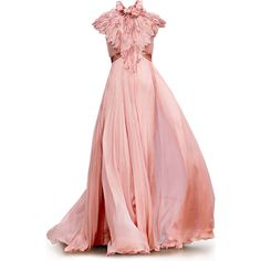 Satinee's collection - G.Hobeika ❤ liked on Polyvore featuring dresses, gowns, vestidos, long dresses, pink gown, long pink dress, pink ball gown, pink dress and pink evening gowns