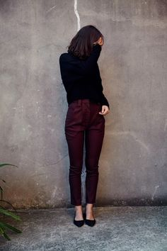 Shop the Dress Up Classic Wool Pants in Burgandy on Well Made Clothes now!  #pants #woolpants #pants #twinpeaks #ethicalpants #ethicalfashion #ethicalclothing #twinpeaksgirls #twinpeaksfashion #sustainable #sustainablefashion #pantsoutfit #dressup #australianfashion