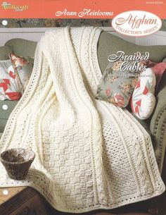 Aran Afghan Crochet Pattern - Braided Cables Aran Heirloom Crochet Cable, Manta Crochet, Crochet Home, Knitted Afghans, Knitted Blankets, Baby Blankets, Afghan Crochet Patterns, Crochet Stitches, Crochet Afgans