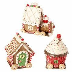 RAZ Claydough Gingerbread Train  Set/3 Made of Claydough Each piece measures 4.75 X 4 X 3 For Decorative Use Only   RAZ Exclusive   RAZ Christmas Moose 2013 Collection Arriving Summer 2013 ...see more of the Chocolate Moose collection at www.trendytree.com
