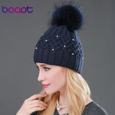 BOAPT Pearl Natural Raccoon Fur Women's Winter Hats Girls Knitted Wool Rabbit Braid Caps Female Headgear Pompon Skullies Beanies