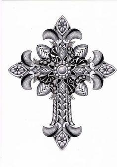 Zentangle Cross | Uploaded to Pinterest