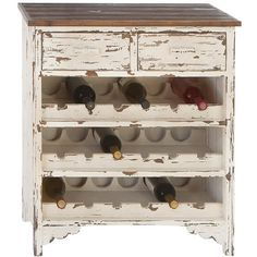 Distressed White Wine Cabinet.