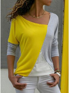 4ac7b663e42 Polyester V Neck Color Block Long Sleeves Casual Blouses Casual Tops For  Women