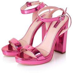 TopShop Luxury Slim Platform Sandals ($24) found on Polyvore featuring women's fashion, shoes, sandals, heels, topshop, metallic platform sandals, platform sandals, high heeled footwear, strappy high heel sandals and high heel sandals