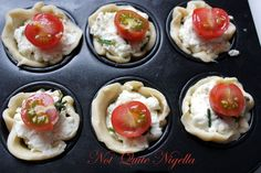Ricotta, chive and tomato tarts recipe @ Not Quite Nigella Yummy Appetizers, Appetizer Recipes, Brie Appetizer, Veggie Recipes, Wine Recipes, Veggie Meals, Tomato Tart Recipe, Tarts Recipe, High Tea Food