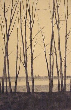 in Winter I 戸村 茂樹 Shigeki Tomura Japanese Print maker born in 1951 Japanese Prints, Japanese Art, Landscape Art, Landscape Paintings, Art Japonais, Japanese Painting, Gravure, Tree Art, Asian Art