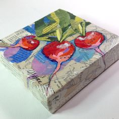 Radish - 6x6 Original Torn Paper Collage - Mixed Media by lynneadamsonadrian on Etsy