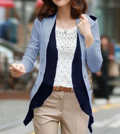 Structure Shoulder Pocket Button Open Blazer