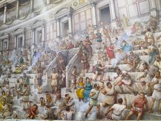 Pittura nel Colosseo che ha illustrato una cucina tipica folla, mangiare, combattendo e bere.