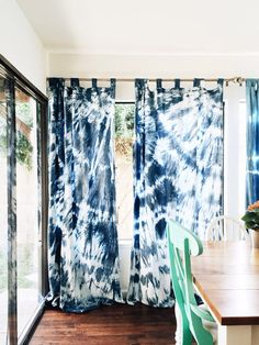 Indigo Shibori Curtains (2 panels) *hand dyed *100% cotton Approx 88 long x 54 wide (msg me for exact measurements... They dye tends to shrink