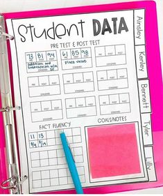 2nd Grade Classroom, Special Education Classroom, Classroom Ideas, Future Classroom, Student Data Binders, Student Teaching Binder, Student Data Tracking, Teacher Resources, Teaching Ideas