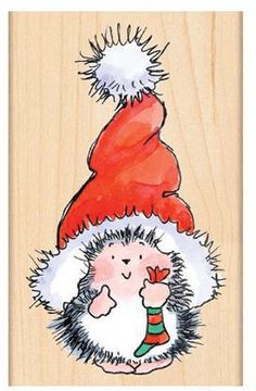 Santa's Hat - Wood Rubber Stamp