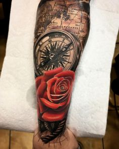 Nice black and red tattoo works of Rose compass and map motive done by tattoo artist by Rods Jimenez from Sacred Tattoo NYC Hand Tattoos, Tattoos Arm Mann, Forarm Tattoos, Arm Tattoos For Guys, Forearm Tattoo Men, Body Art Tattoos, Sleeve Tattoos, Badass Tattoos, Cool Tattoos