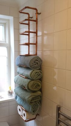 Copper Pipe Towel Rail #bathroom #storage #organization #industrial by echkbet