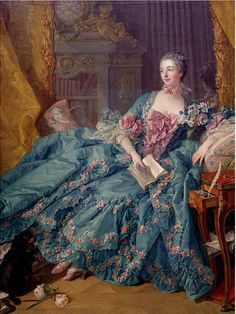 King Louis XV's most famous mistress, Jeanne Antoinette Poisson—better known as Madame de Pompadour 1756 Madame Pompadour, Rococo Painting, Victorian Paintings, Victorian Art, Rococo Fashion, 18th Century Fashion, Woman Reading, Rococo Style, Classical Art