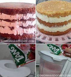 Na hora de fazer um recheio gostoso para bolo o que todo mundo quer é uma receita simples, fácil e econômica, não é verdade? E para atender todas essas exigências eu resolvi ensinar para vocês como fazer recheio de suco tang (suco em pó). Esse é um recheio bem econômico mesmo, leva apenas 3 ingredientes na sua receita