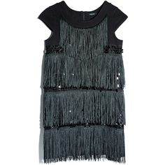 GUESS by Marciano Fringe Ponte & Pailette Dress ($57) ❤ liked on Polyvore featuring dresses, black, kohl dresses, black holiday dresses, fringe cocktail dress, black dress and ponte knit dress