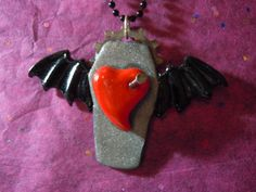 Goth Heart Necklace Goth Bat Valentine Gift Heart by laminartz