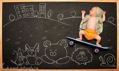 These imaginative chalk drawings show a couple's newborn baby boy...
